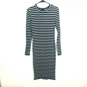 Forever 21 Dress Large Crew Neck Striped Stretch